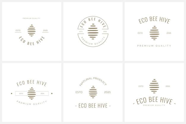 Ensemble de modèle de logo d'insigne d'abeille et de miel