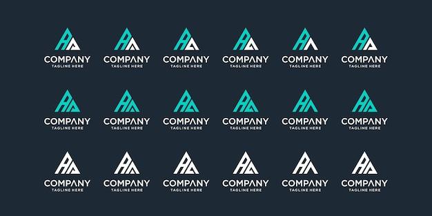 Ensemble de modèle de logo lettre aa monogramme abstrait créatif