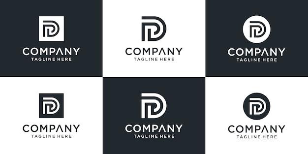 Ensemble de modèle de logo lettre créative pd ou dp