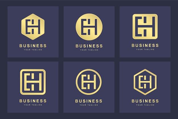 Ensemble de modèle de logo lettre initiale abstraite eh eh.
