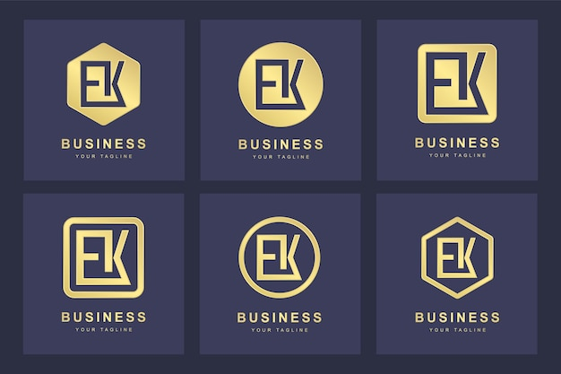 Ensemble de modèle de logo lettre initiale abstraite ek ek.