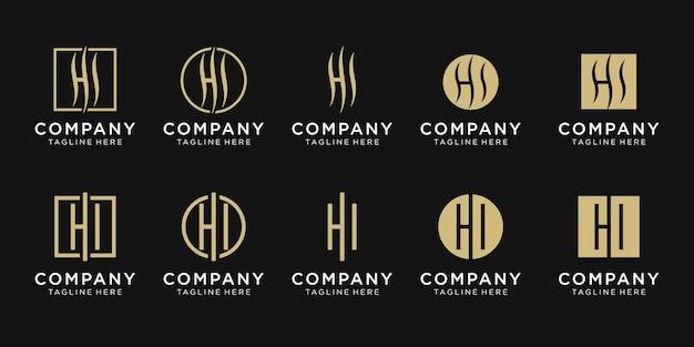 Ensemble de modèle de logo de lettre initiale créative