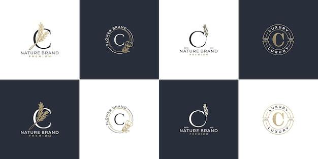 Ensemble de modèle de logo lettre c initiale féminine de luxe