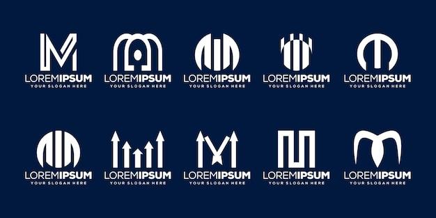 Ensemble de modèle de logo de lettre initiale m