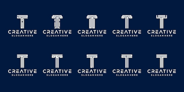 Ensemble de modèle de logo de lettre initiale t