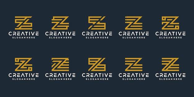 Ensemble de modèle de logo de lettre initiale z