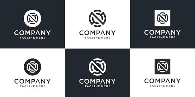 Ensemble de modèle de logo lettre n monogramme abstrait créatif