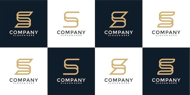 Ensemble de modèle de logo de lettre s monogramme créatif
