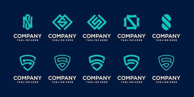 Ensemble de modèle de logo lettre s ss