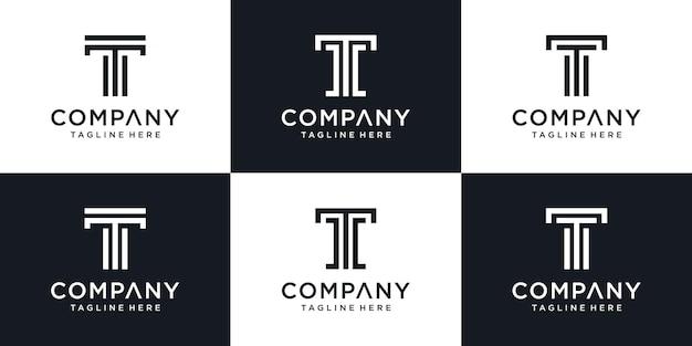 Ensemble de modèle de logo lettre t initiale abstraite monogramme.