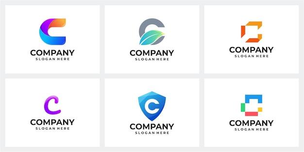 Ensemble de modèle de logo lettre c
