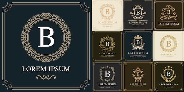 Ensemble de modèle de logo de luxe, type de lettre initiale b