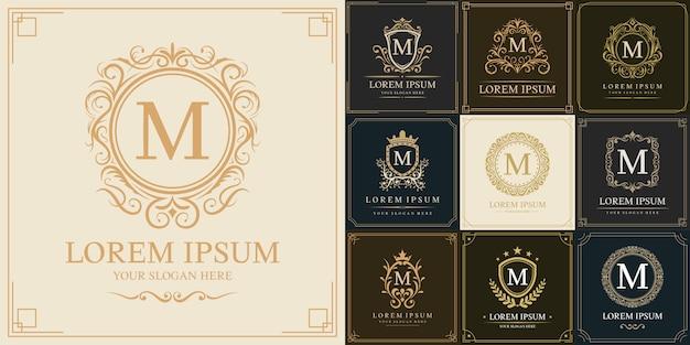 Ensemble de modèle de logo de luxe, type de lettre initiale m
