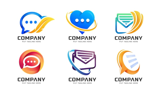 Ensemble de modèle de logo de message de chat coloré créatif