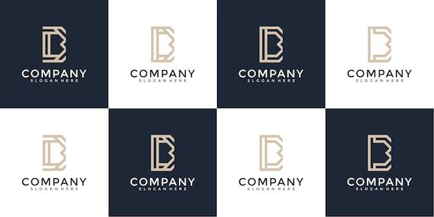 Ensemble de modèle de logo monogramme créatif lettre b