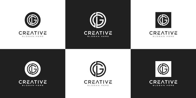 Ensemble de modèle de logo monogramme créatif lettre gd. le logo peut être utilisé pour les entreprises et les entreprises de construction.