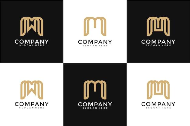 Ensemble de modèle de logo monogramme créatif lettre m