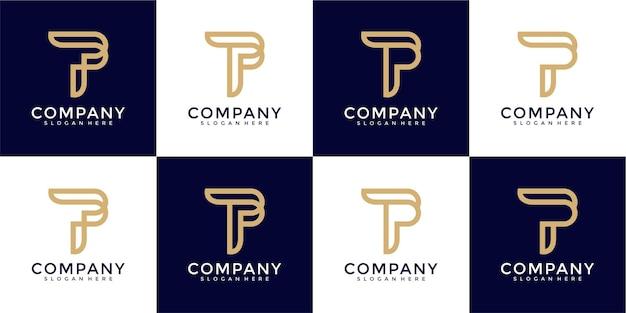 Ensemble de modèle de logo monogramme créatif lettre p