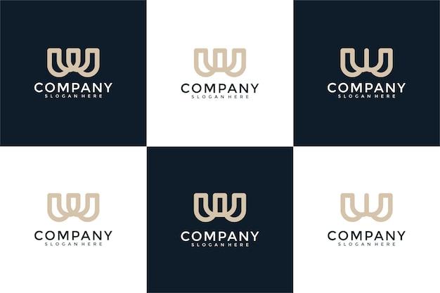 Ensemble de modèle de logo monogramme créatif lettre w
