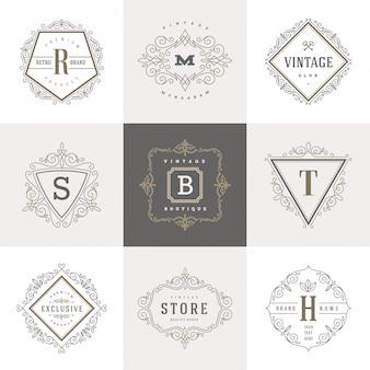 Ensemble de modèle de logo monogramme avec des éléments d'ornement élégant calligraphique s'épanouit.