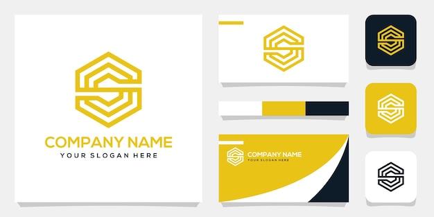 Ensemble de modèle de logo monogramme lettre s, conception de carte de visite