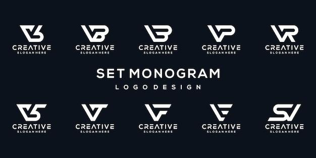 Ensemble de modèle de logo monogramme lettre v