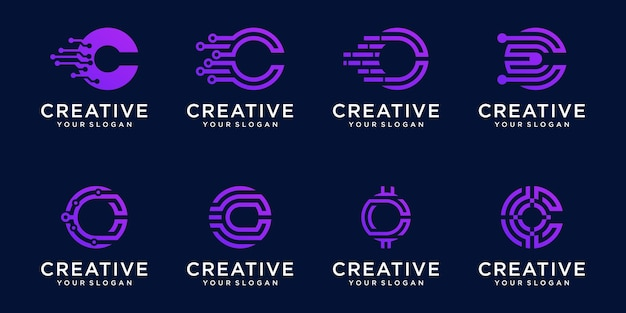 Ensemble de modèle de logo monogramme lettre c