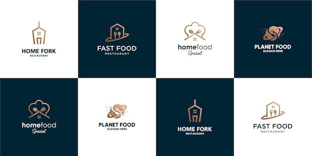 Ensemble de modèle de logo de nourriture élégante minimaliste