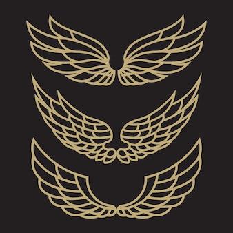 Ensemble de modèle de logo oiseau aigle et aile