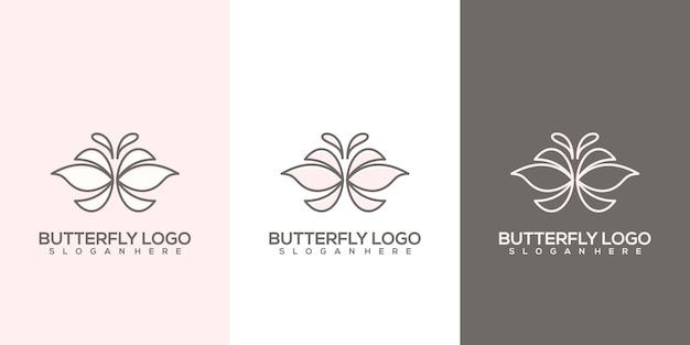 Ensemble de modèle de logo papillon abstrait féminin