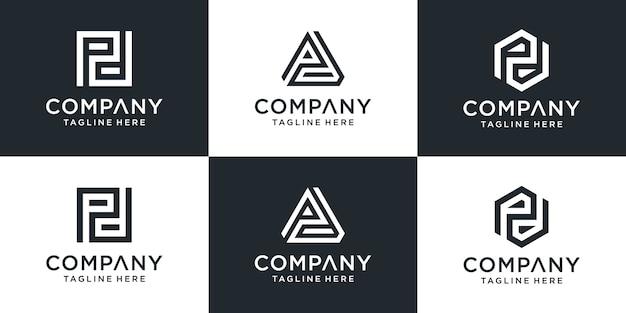 Ensemble de modèle de logo pd lettre monogramme abstrait créatif