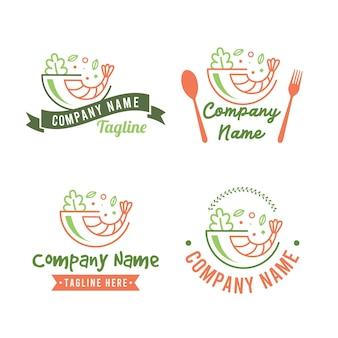 Ensemble de modèle de logo poke bowl d'aliments sains avec crevettes et légumes à salade de couleur verte et orange