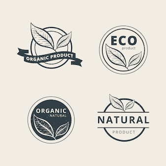 Ensemble de modèle de logo de produit biologique professionnel