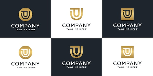 Ensemble de modèle de logo pu lettre initiale abstraite. pour les affaires de mode, de conseil, de construction, simple.