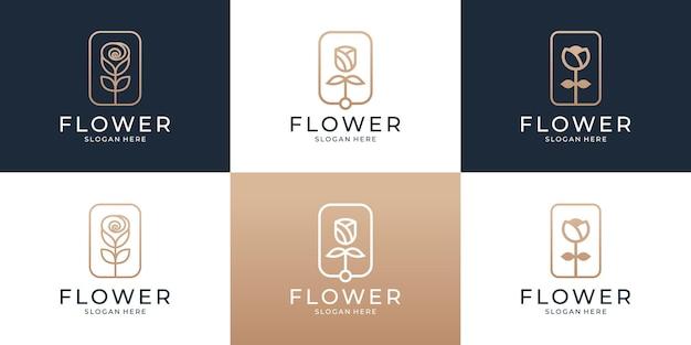 Ensemble de modèle de logo rose fleur abstraite