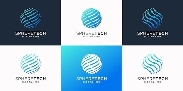 Ensemble de modèle de logo de technologie mondiale.