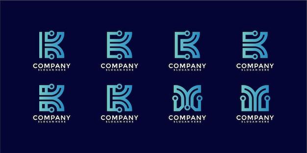 Ensemble de modèle de logo de technologie numérique moderne lettre k créative