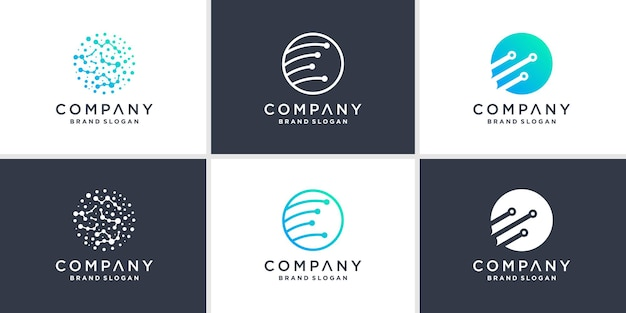 Ensemble de modèle de logo technologique mondial avec un style moderne vecteur premium