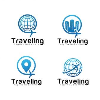 Ensemble de modèle de logo de voyage