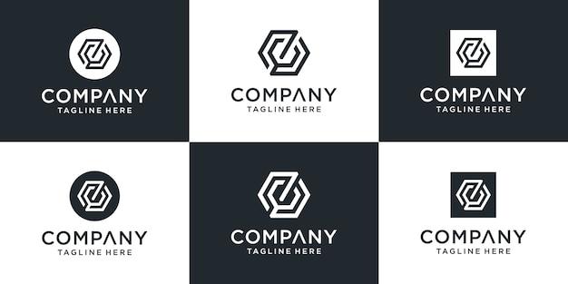 Ensemble de modèle de logo zc lettre monogramme abstrait créatif
