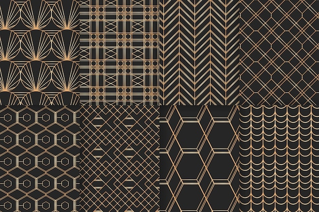 Ensemble de modèle de luxe doré géométrique