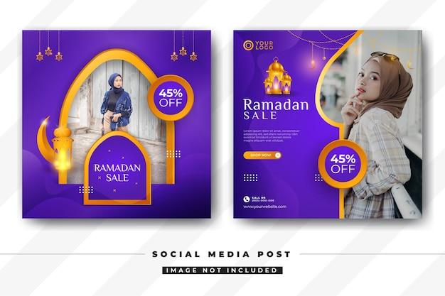Ensemble de modèle de médias sociaux de vente ramadan kareem