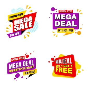 Ensemble de modèle moderne de bannière de promotion de vente mega