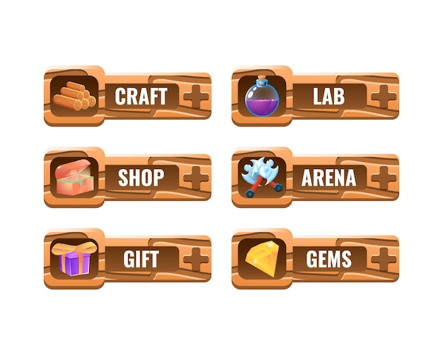 Ensemble de modèle de panneau de cadre d'interface utilisateur de jeu en bois drôle pour les éléments d'actif gui