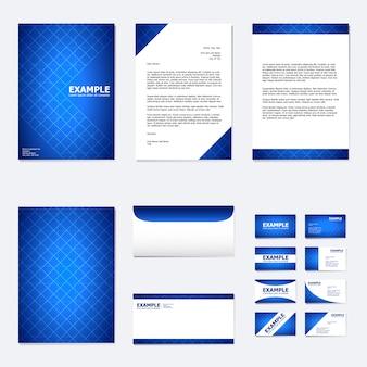 Ensemble de modèle de papier d'affaires avec une couleur bleue abstraite