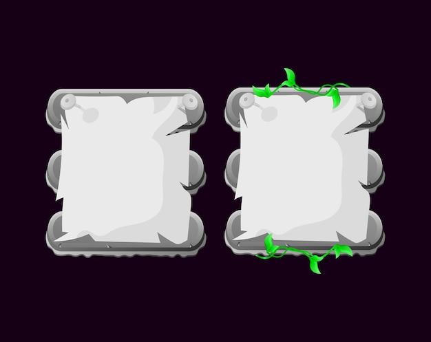 Ensemble de modèle de pop-up de carte d'interface utilisateur de jeu de papier de nature de pierre roche arrondie pour les éléments d'actif gui