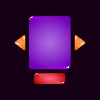 Ensemble de modèle de pop up de tableau d'interface utilisateur de jeu de gelée colorée pour les éléments d'actif gui