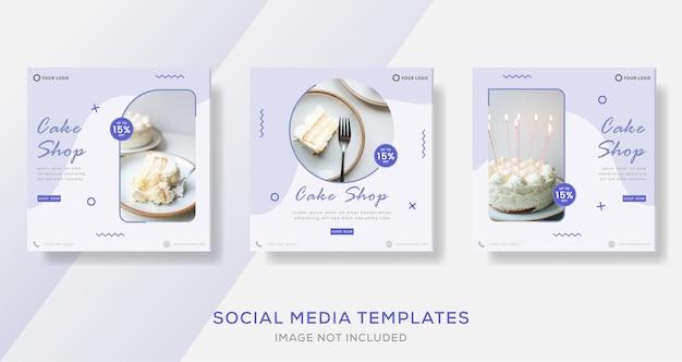 Ensemble de modèle de publication de bannières de gâteau avec des bonbons