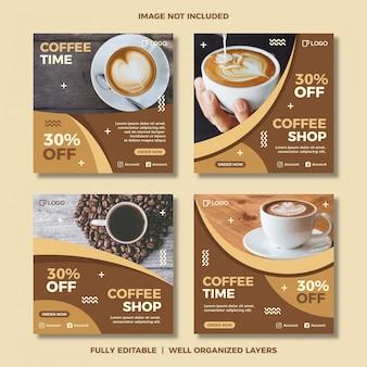 Ensemble de modèle de publication de médias sociaux de café.