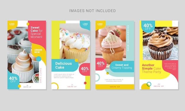 Ensemble de modèle de publication de médias sociaux d'histoires de gâteaux sucrés